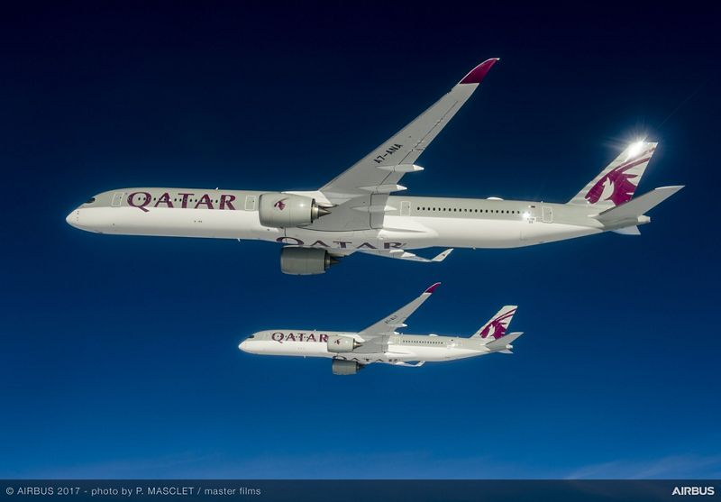 A350 1000 and A350 900 Qatar formation flight