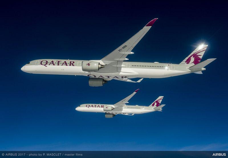 A350 1000 and A350 900 Qatar formation flight