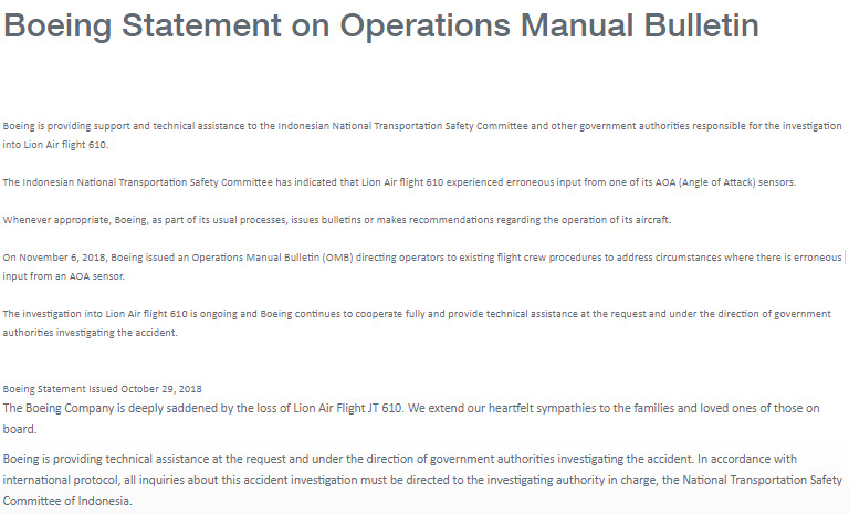 Boeing statement Lion Air Bulletin 6-11-2018