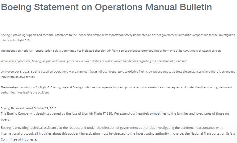 Boeing statement Lion Air Bulletin 6-11-2018
