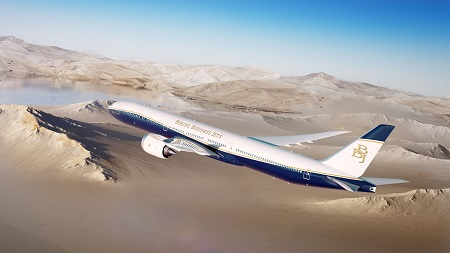 BBJ 777 9 flying over desert sm