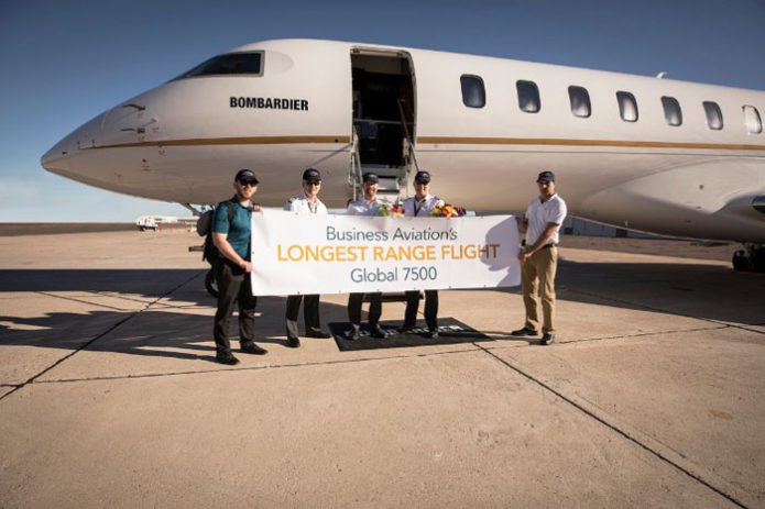 Bombardier Global 7500 Record