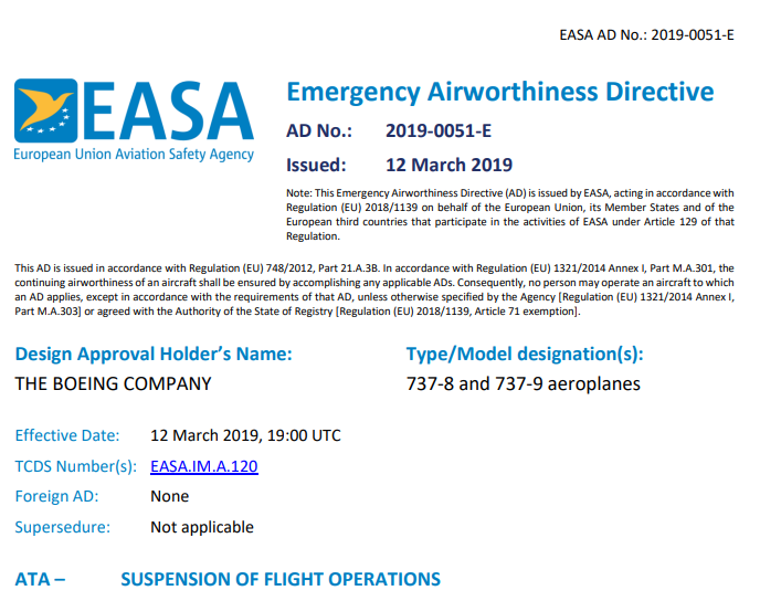 EASA 12 03 2019