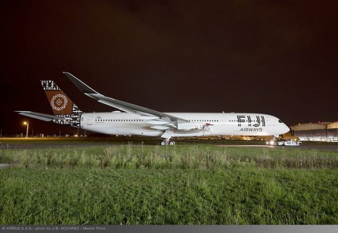 A350 900 Fiji Airways MSN299 rolls out of paint shop 006
