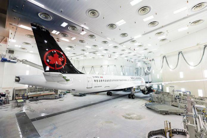 A220 300 Air Canada paintshop rollout