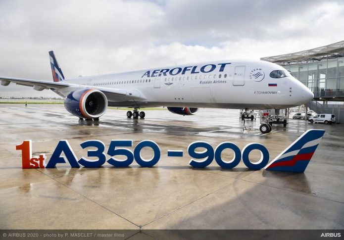 Aeroflot first A350 900 delivery with letters 01