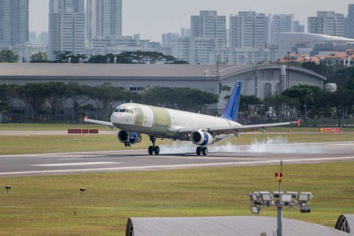 a321p2f first flight landing