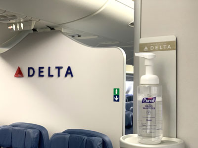 Delta Hand sanitizer on board