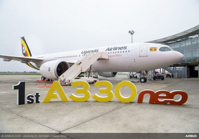 1st A330neo Delivery To Uganda Airlines Ribbon Cutting