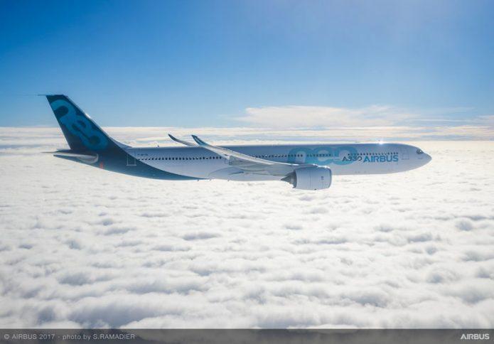 A330neo first flight in flight